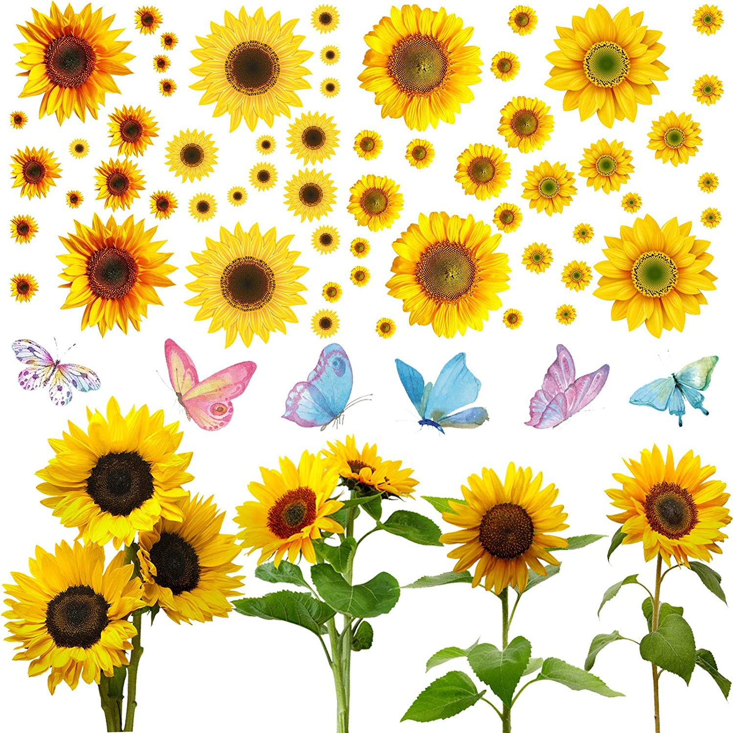 70 Pieces Sunflower Wall Stickers Set, Include 6 Colorful Butterfly Stickers 64 Pieces Multi-Size Sunflowers Sticker Removable Waterproof Decorative Sticker for Baby Living Room Kitchen Home Decor