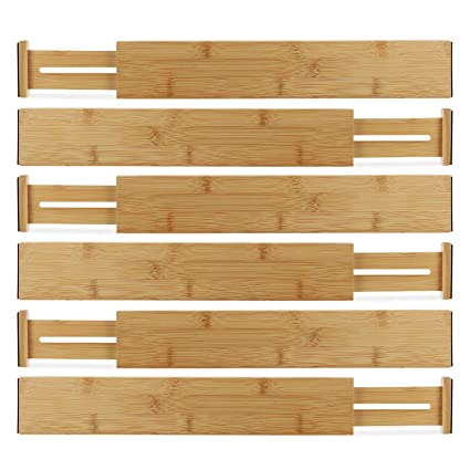 Hartons Bamboo Kitchen Drawer Organizers Spring Adjustable & Expandable  Drawer Dividers 100% Natural Bamboo Strongest-Heaviest Duty - Best for ...