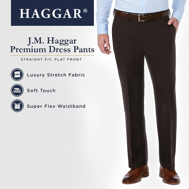 36Wx30L J.M Black Haggar Mens Sharkskin Superflex Waist Straight Fit Dress Pant