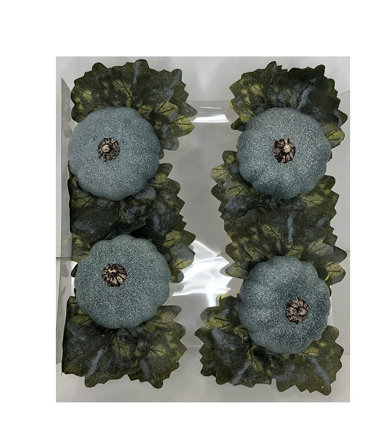 Nantucket Home Thanksgiving Napkin Rings Set of 4 Trendy Glitter Teal Pumpkin and Leaves Harvest Bouquet Fall DecorDinner Party Table Arrangement