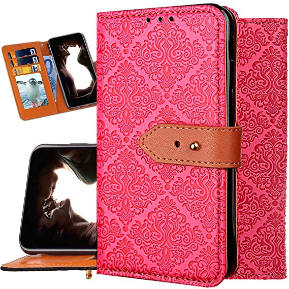 sports shoes b696a 0753a iPhone Xs Wallet Case for Women,iPhone X Purse Case,Auker Girly Vintage  Book Leather Folio Flip Folding Stand Slim Fit Cover with 3 Card  Holder&Hidden ...