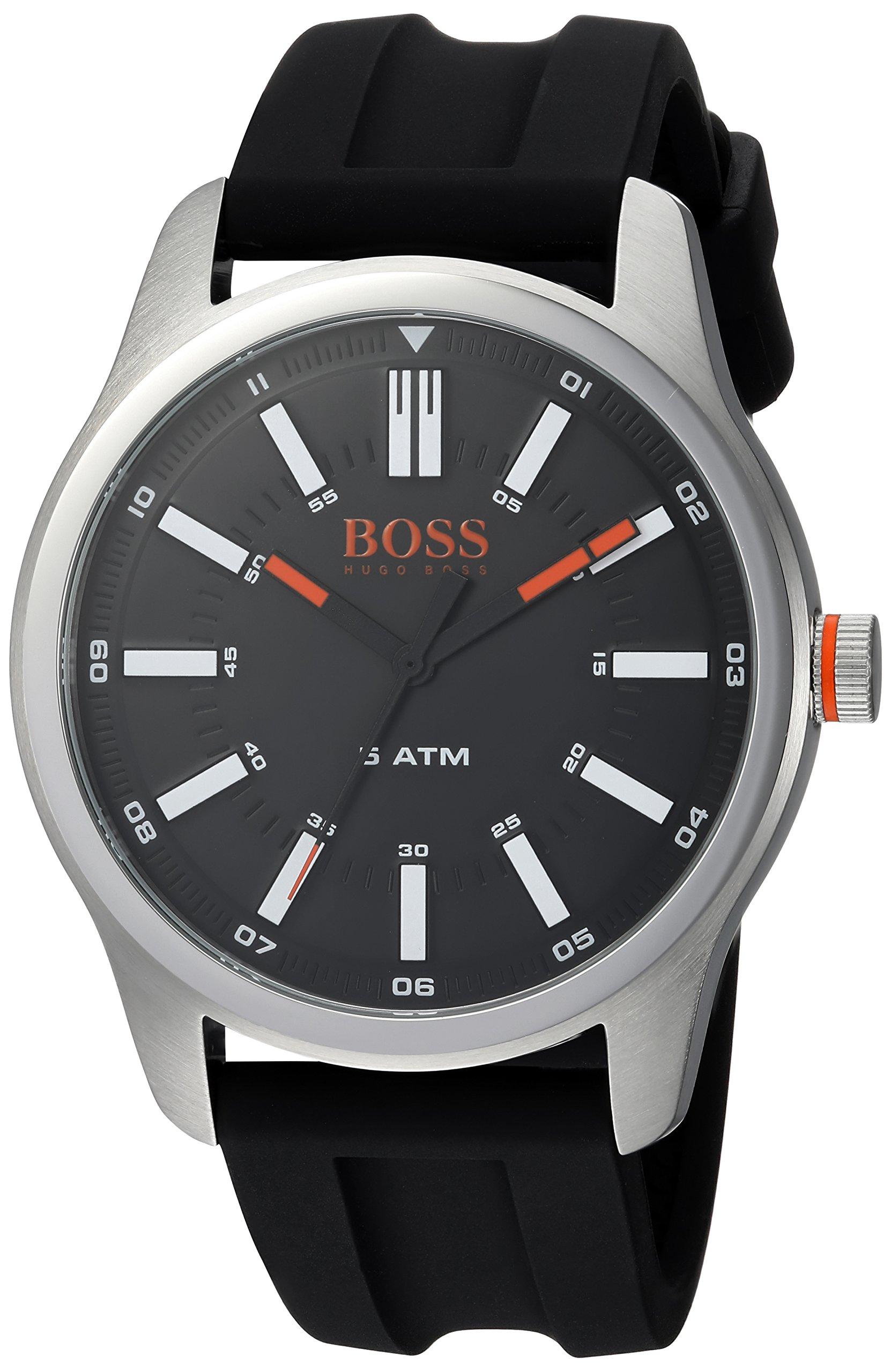 HUGO BOSS Men's Dublin Stainless Steel Quartz Watch with Rubber Strap, Black, 22 (Model: 1550042)