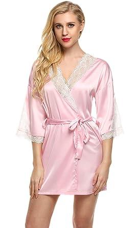 816231ef16f Women s Kimono Short Robe Silky Lace Loungewear Bride Bathrobe Plus Size  (Pink