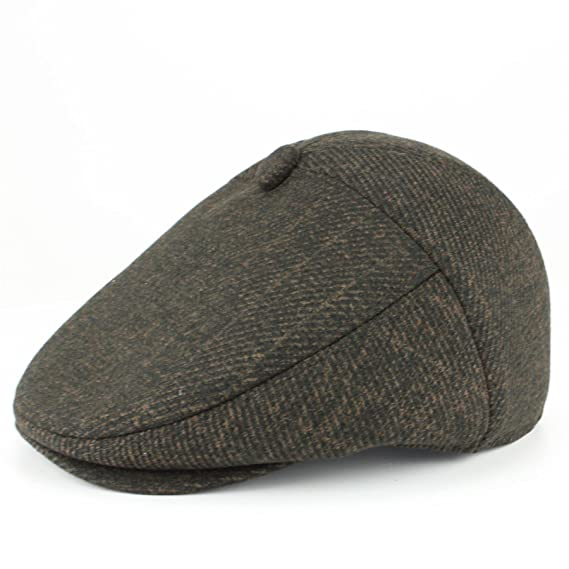 BROWN TWEED FLAT CAP WITH STRUCTURED PEAK COUNTRY STYLE by HAWKINS