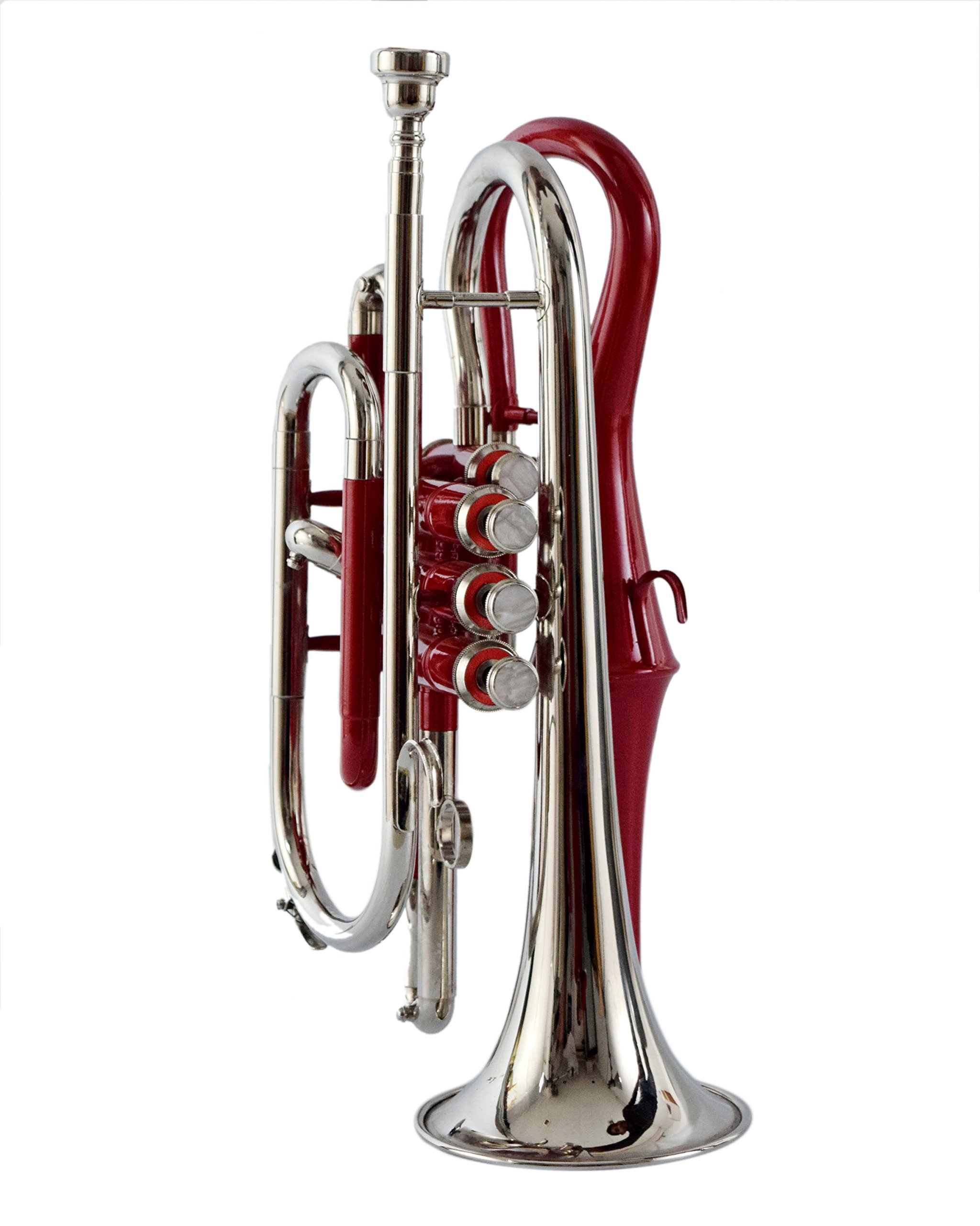 NASIR ALI BEAUTIFUL CORNET BP PITCH RED+ NICKEL COLORED WITH CASE AND MP by NASIR ALI (Image #3)
