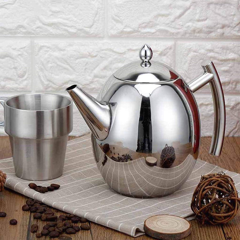 1 l // 1,5 l SALAKA Tetera de Acero Inoxidable 1PC de Plata Cafetera Tetera hervidor de Agua con Filtro Grande Capacidad