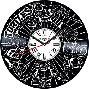 Ninja Turtles Vinyl Record Wall Clock Poster - Vintage Home Decor Kitchen Bedroom Living Room Kids Room - Unique Handmade Gift for Kids Friends Boys Girls - 12 inches