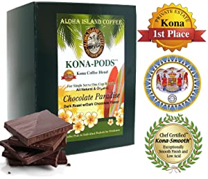 Chocolate Flavored Kona Coffee Blend, Soft Coffee Pods for Senseo and All Soft Pod Coffee Brewers, 18 Pods, Reusable Adapter for K-cup Brewing, Aloha Island Coffee