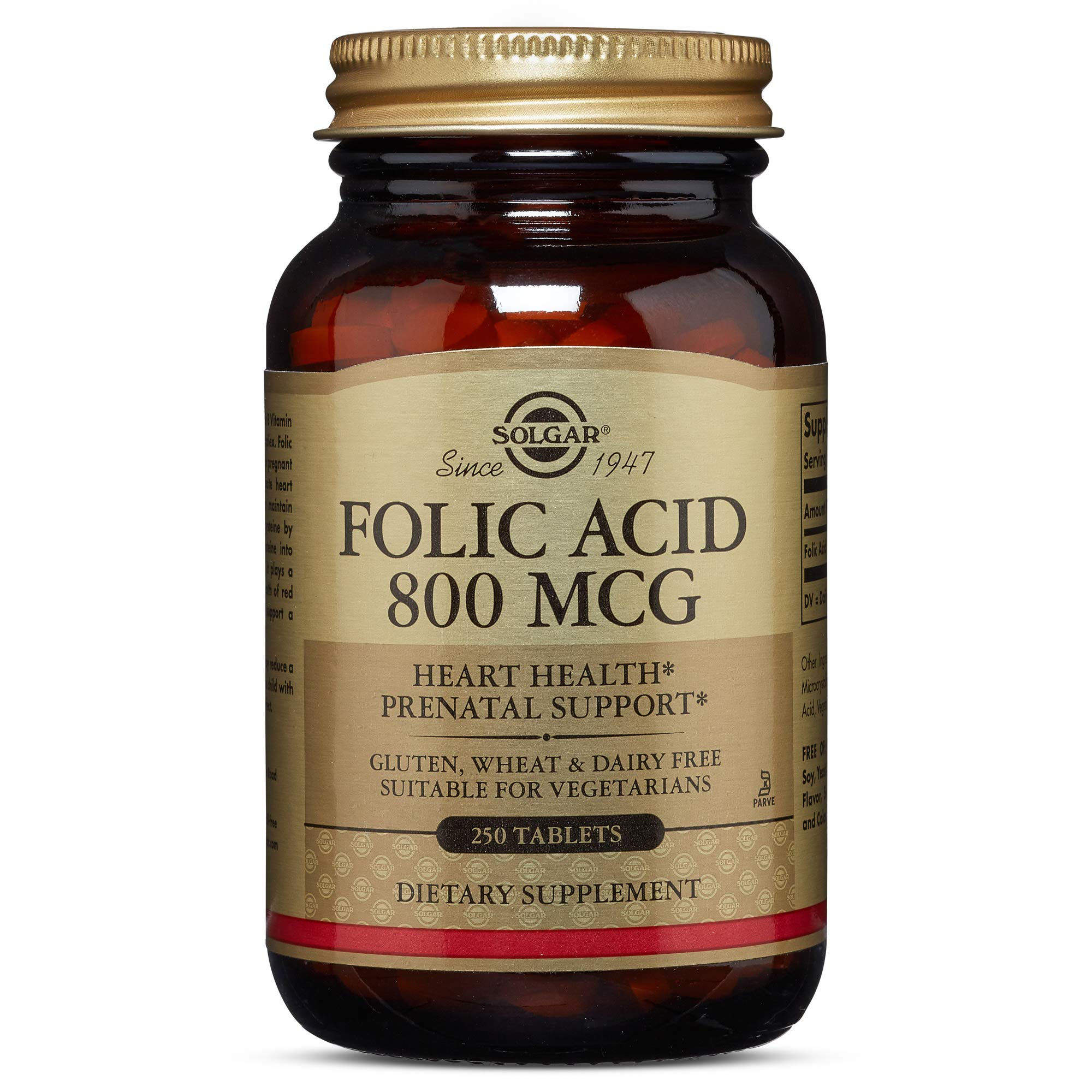 Solgar - Folic Acid 800 mcg, 250 Vegetable Capsules - 2 Pack