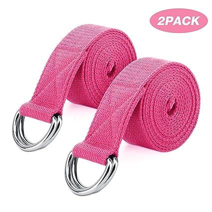 MoKo Yoga Correa - [2 Pzs] Durable Algodón Suave de Estiramiento Fitness Ejercicio Físico Band con D-Ring Metal & Strap Belt 6ft para Mejora de la ...