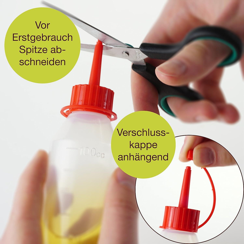 ProfessionalTree® Botellas para líquido con sistema de goteo 12x100 ml. Con embudo de medición - 12 etiquetas - Para conservar líquidos - Seguro para niños ...