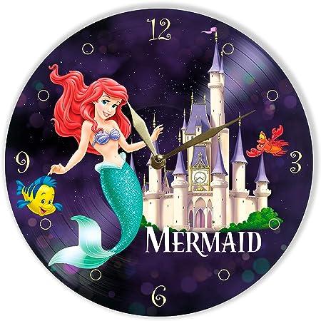 Amazon.com: The Little Mermaid – Reloj de pared pintado de ...