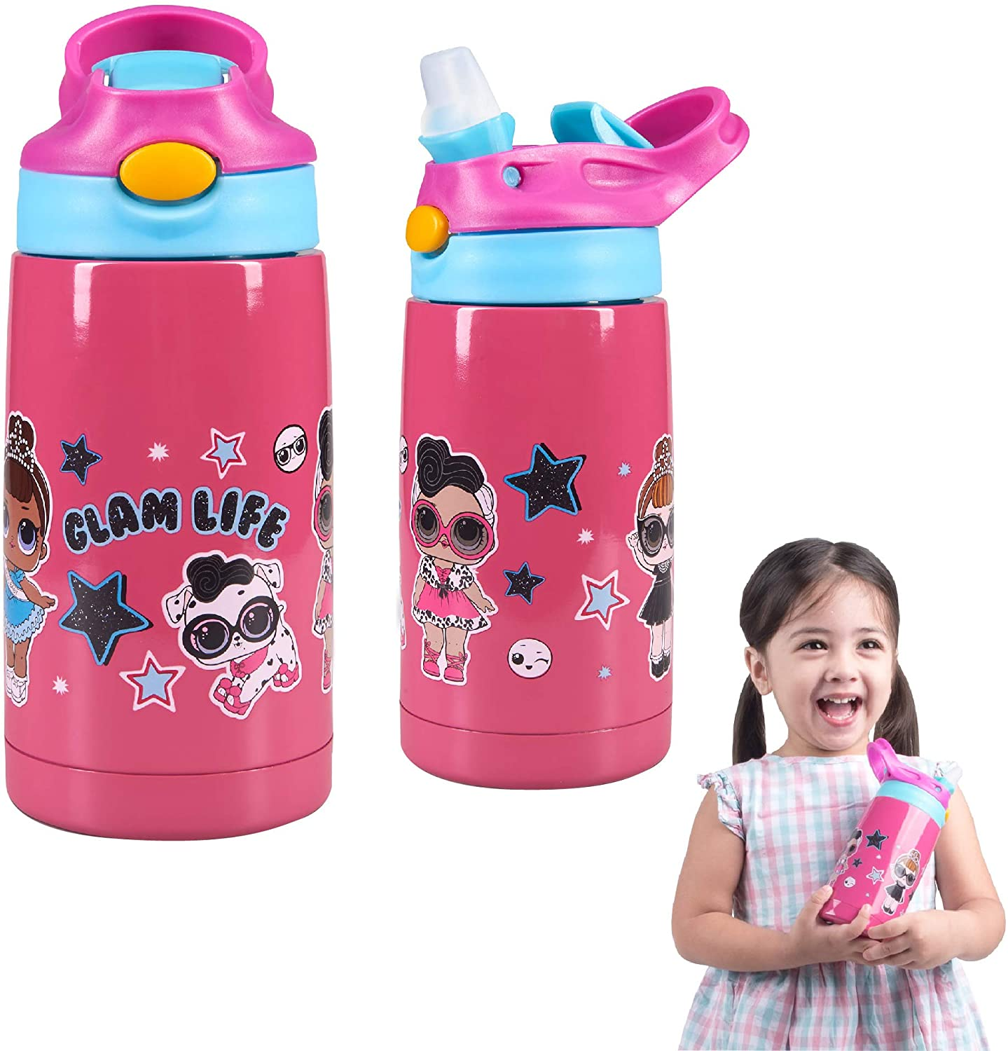 Franco Kids Double Wall Vacuum Insulated Stainless Steel Water Bottle, 14-Ounce, LOL Surprise