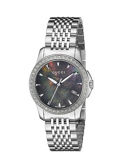 Gucci YA126507 - Reloj de pulsera mujer, acero inoxidable, color plateado: Amazon.es: Relojes