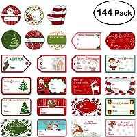 BESTOYARD 144PZ Etichette regalo natalizie Adesivi Natale pupazzi di neve Xmas Tree Cervi Festival natalizio Compleanno Nozze Festività regali decorativi Etichette Decalcomanie