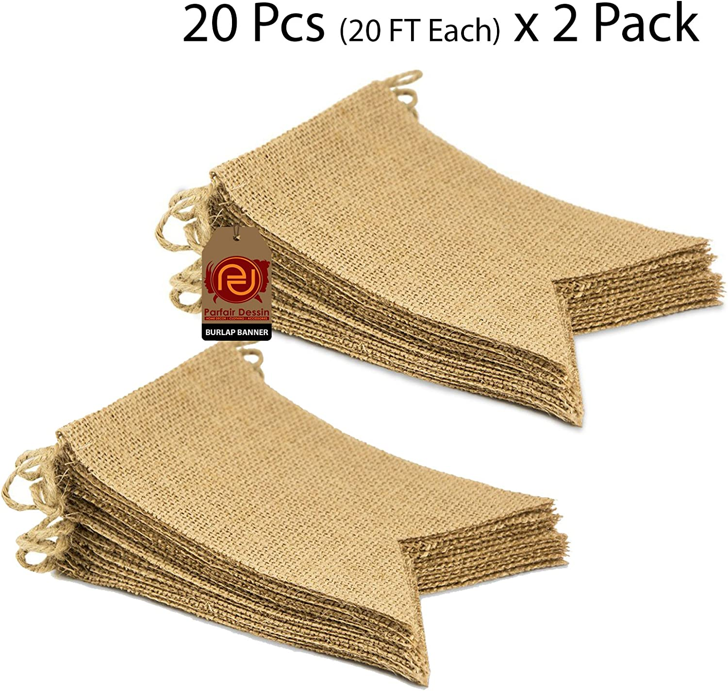 Parfair Dessin 40 Pcs Stiffened Swallowtail Flag Bunting Burlap Banner PreStringed No DIY Garland Decoration for Holidays Camping Halloween Christmas 40 Feet (Natural, Flag 1)