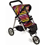 Mommy & Me Baby Doll Stroller Foldable Doll Jogger with Basket, Striped