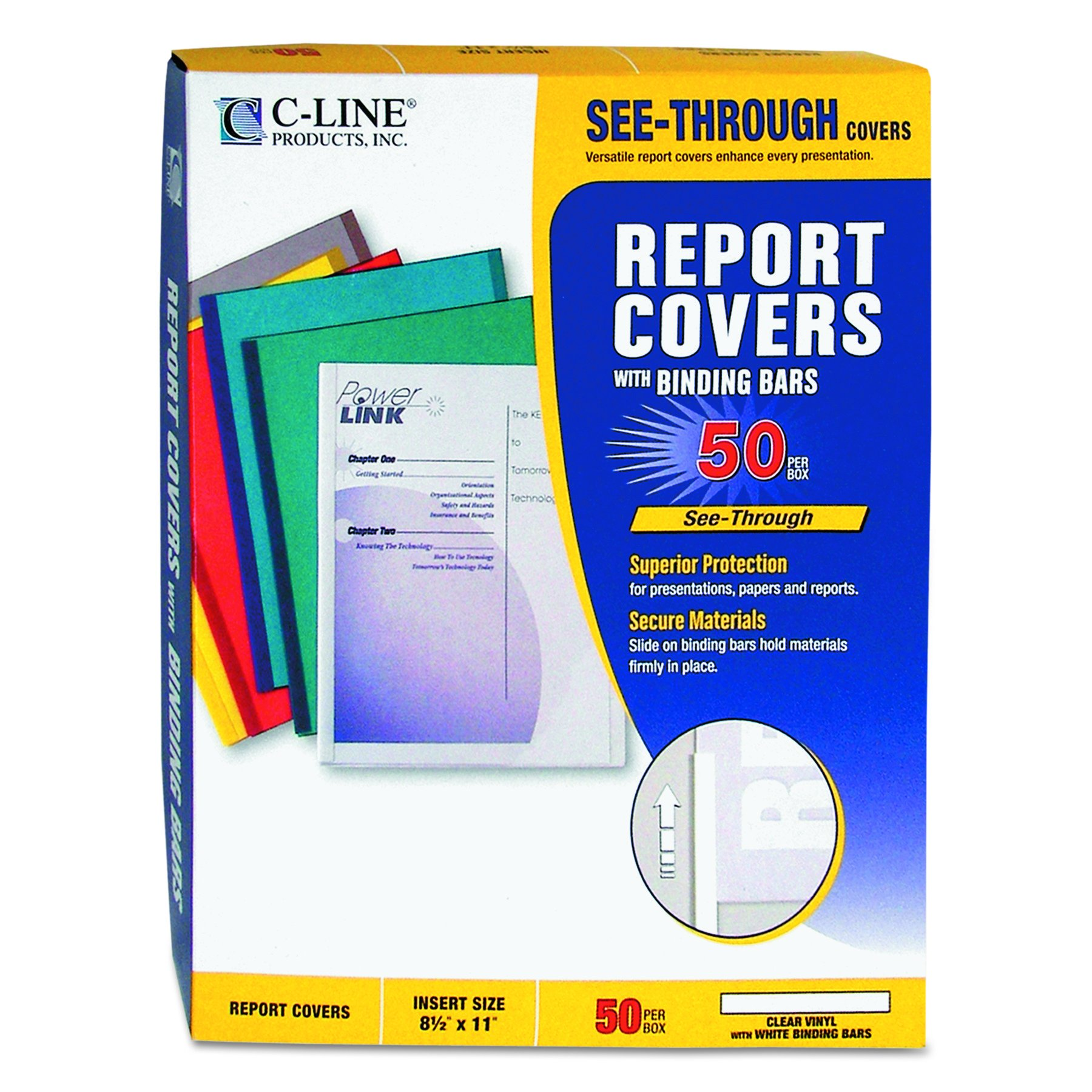 C-Line Report Covers with Binding Bars, Clear Vinyl, White Bars, 8.5 x 11 Inches, 50 per Box (32557) by C-Line (Image #4)