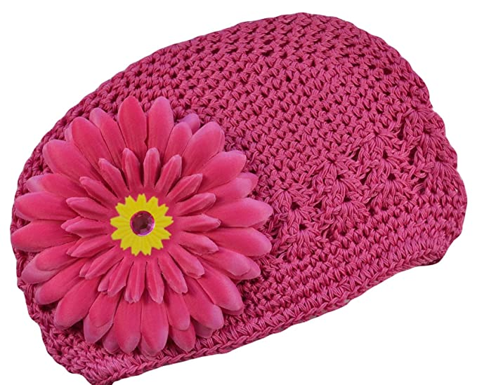 d17b2d969ce Gerber Daisy Crochet Hat for Baby Girls By Funny Girl Designs - Fits Newborn  to 9