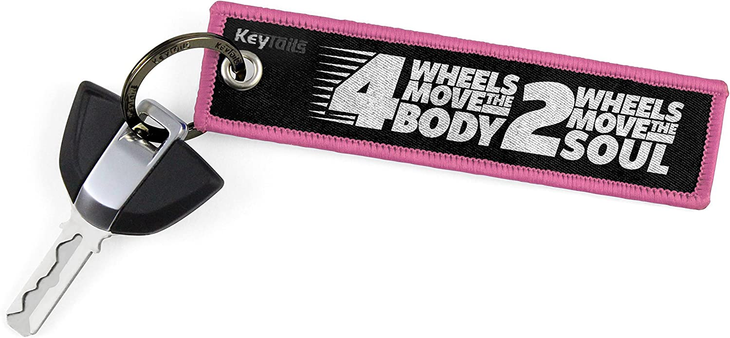 Premium Quality Key Tag for Motorcycle 4 Wheels Move The Body, 2 Wheels Move The Soul UTV ATV KEYTAILS Keychains Scooter