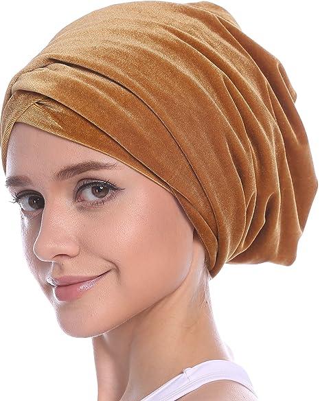 Ababalaya Womens Gold Velvet Luxury Magic Turban Muslim Headscarf 67×10 Inch (1Gold)