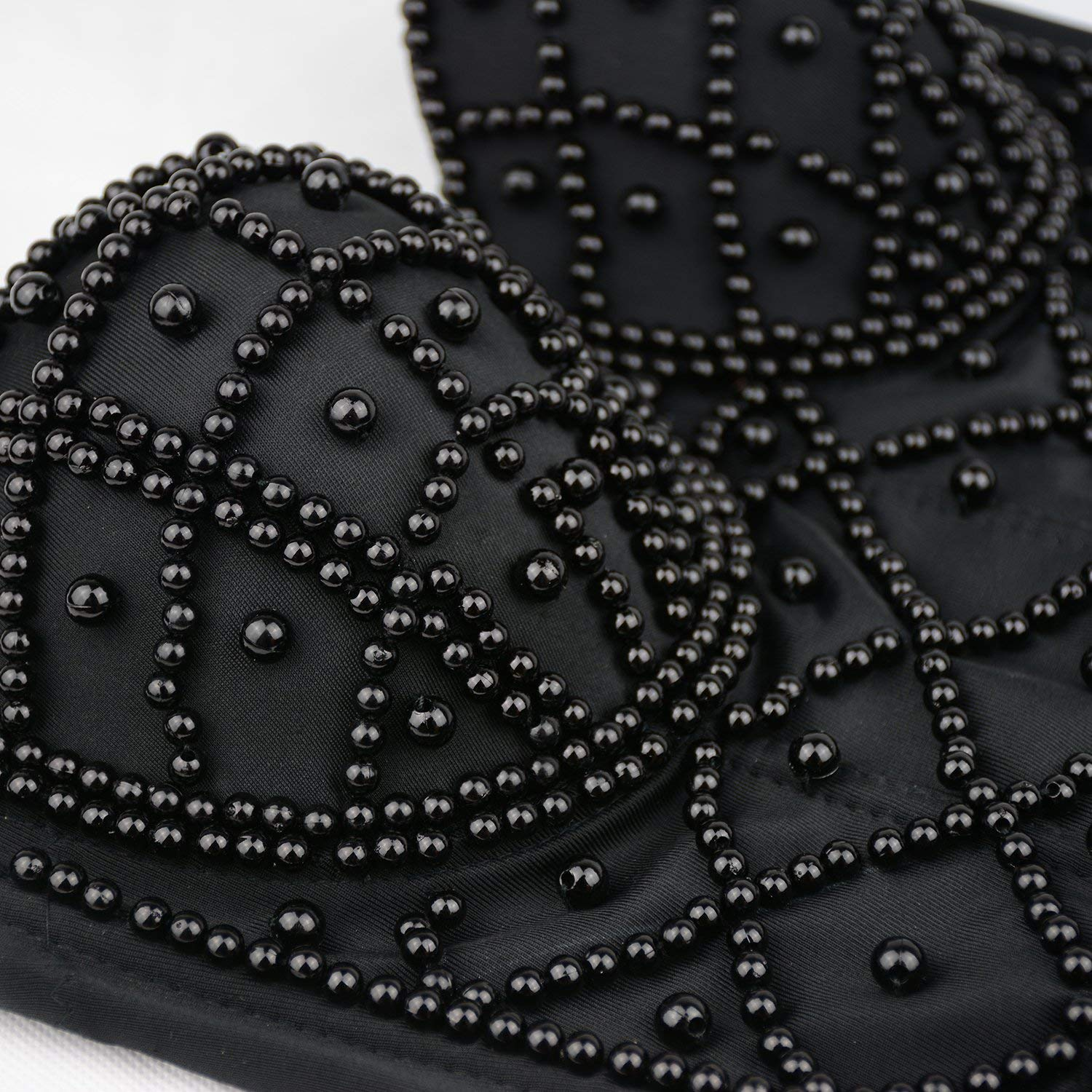 324922567a Amazon.com  ELLACCI Sexy Pearls Beaded Bustier Corset Crop Top Club Party  Cage Bra Black Small  Clothing