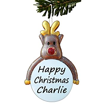 reindeer personalised christmas tree decoration childrens gift rudolph bauble unusual names