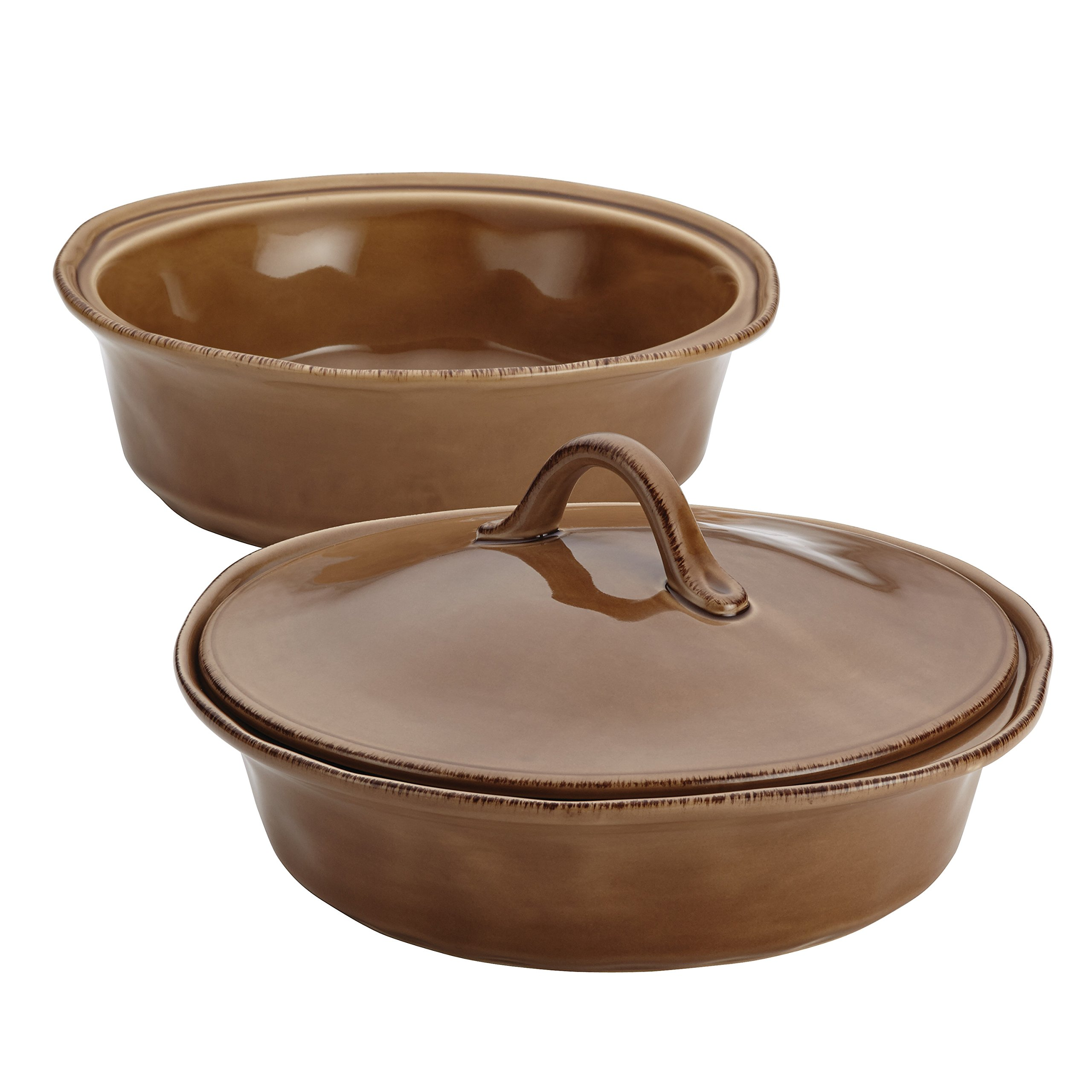 Rachael Ray 3-Piece Cucina Stoneware Round Baker and Lid Set, Mushroom Brown