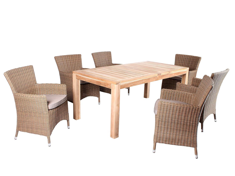 7tlg. Teak u. Polyrattan Sitzgruppe Burano Essgruppe Beige inkl. Sitzkissen, Tisch 180 cm