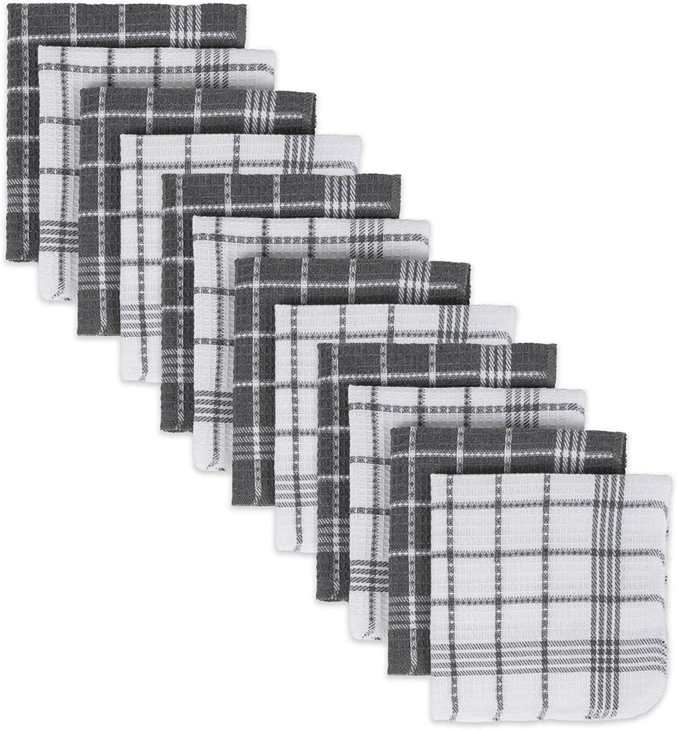 DII Waffle Weave Kitchen Collection 100% Cotton, Machine Washable, Fast Drying and Absorbent, Dishcloth Set, Gray 12 Count