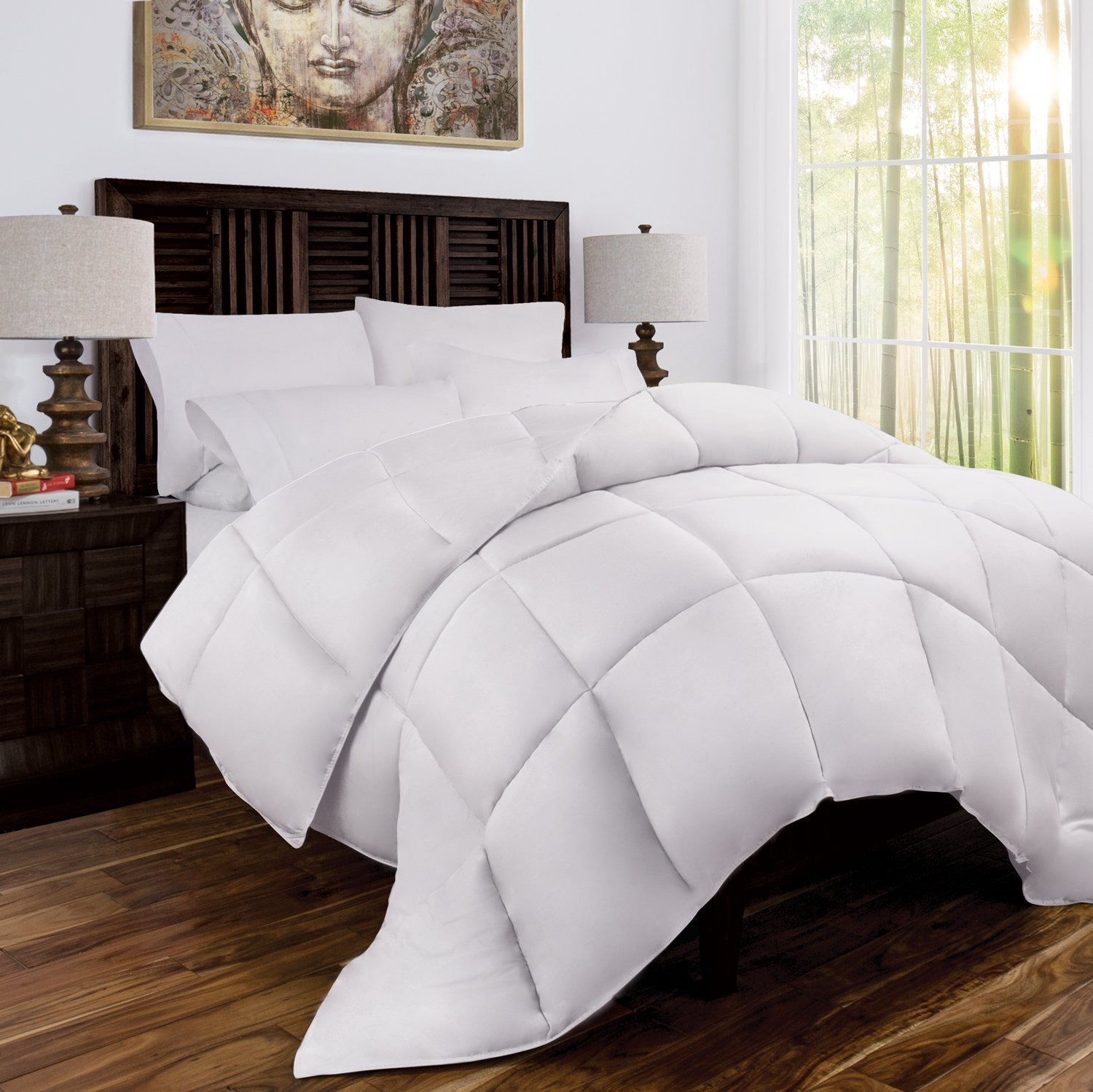 Zen Bamboo Luxury Goose Down Alternative Comforter - All Season Hotel Quality Hypoallergenic Duvet Insert with Cooling Bamboo Blend Fabric - King/Cal King - White