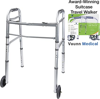 Amazon.com: Vaunn Medical - Andador plegable de dos botones ...