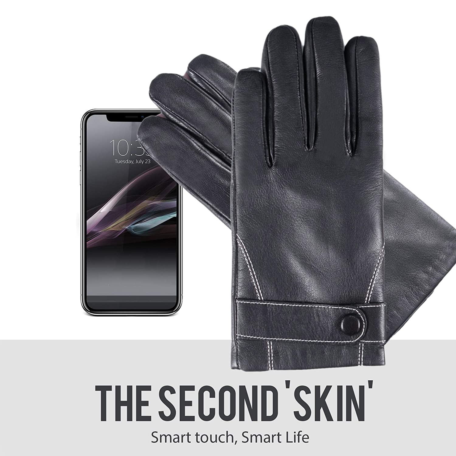 YISEVEN Mens Touchscreen Lambskin Winter Leather Gloves Slim
