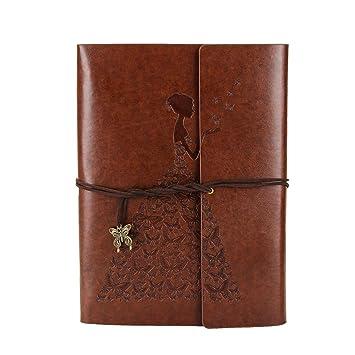 XIUJUAN Libreta Bonitas Cuaderno Bloc de Notas Dibujo Hojas Blancas Cuero Vintage entre A5-A4 Regalos Originales Navidad San Valentín Cumpleaños ...