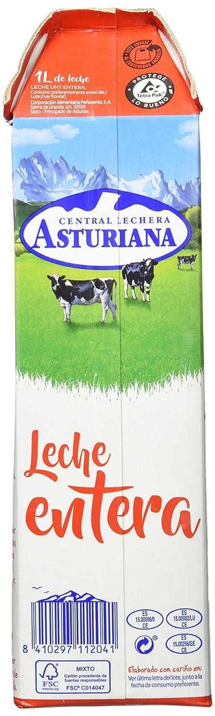 Central Lechera Asturiana - Leche Entera Brik 6L (Pack 6 x 1L): Amazon.es: Amazon Pantry