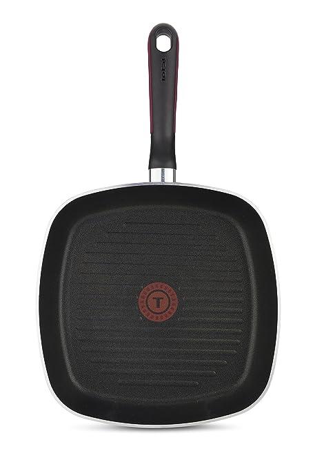 Tefal Comfort Grip - Grill de aluminio de 26 x 26 cm con exterior negro esmaltado