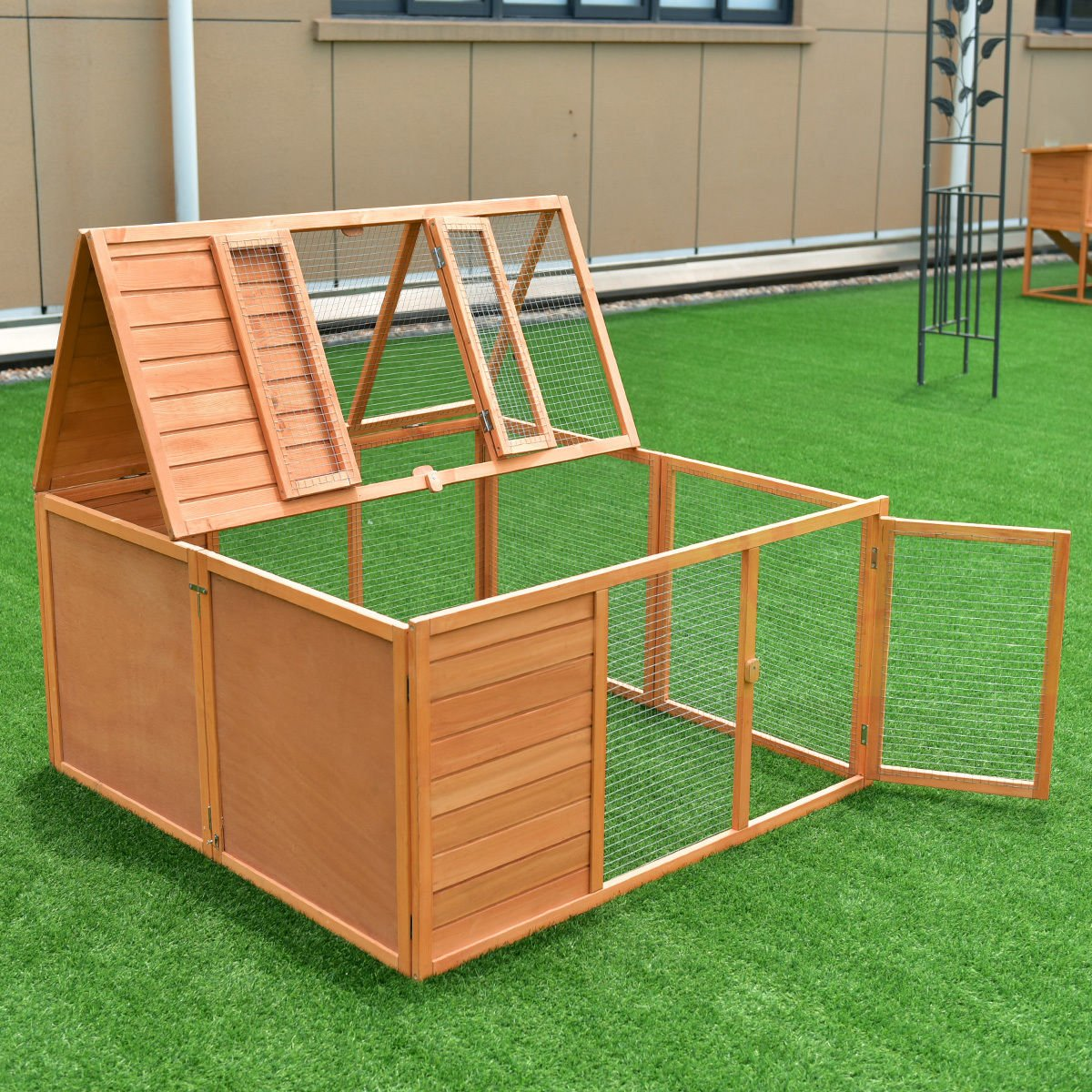 Tangkula Chicken Coop, Wooden Garden Backyard Bunny Chicken Rabbit Duck Small Animals Cage with 2 Doors,Hen House (47'') by Tangkula (Image #2)