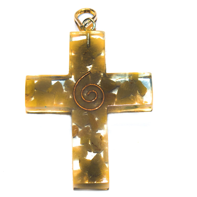 Crocon Yellow aventurine orgone cross Pendant for Reiki Healing Spiritual Gift Crystal Pendant.