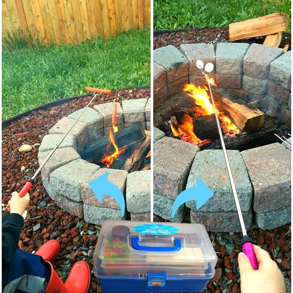 SUMPRI Smores Caddy with Two Folding Trays -Smore Box That Keeps Your Marshmallow Roasting Sticks/Crackers/Chocolate Bars Organized -Fire Pit Accessories Kit,Campfire Smore Skewers Storage Box (Blue) by SUMPRI (Image #6)