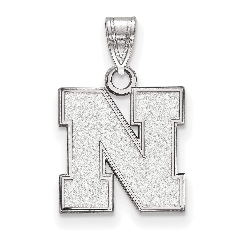 University of Nebraska Cornhuskers School Letter Logo Pendant in Sterling Silver 13x12mm