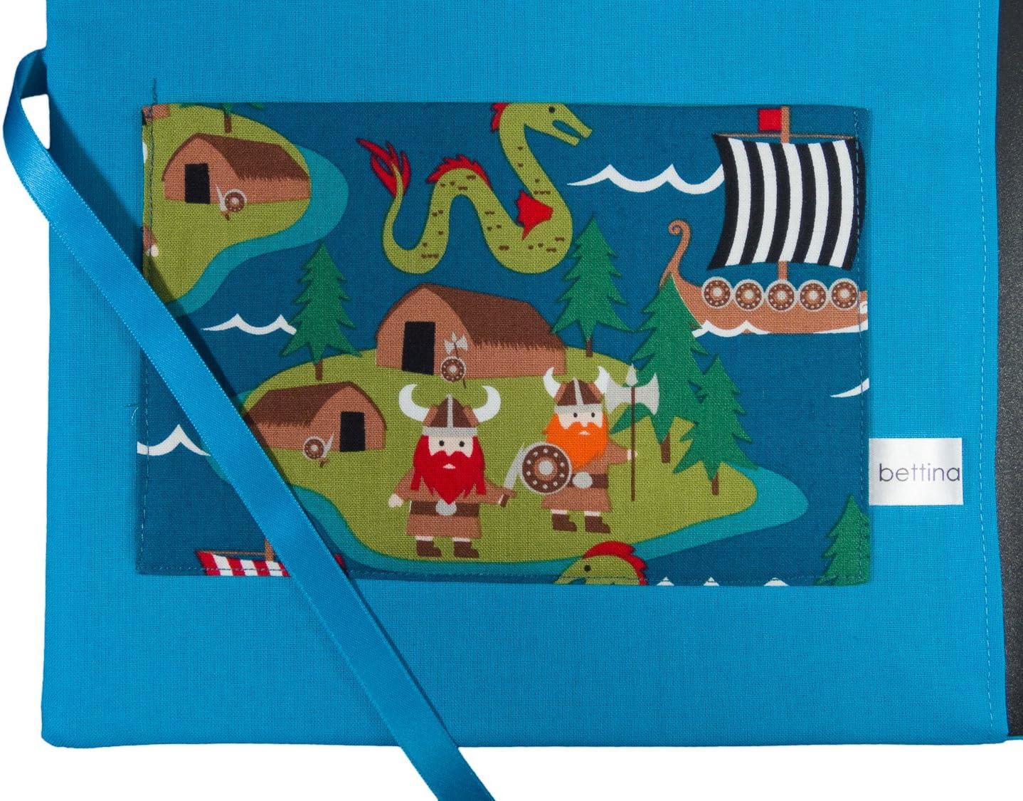Zeugnismappe DIN A4 bettina bruder innen t/ürkis innen 30 Sichth/üllen Wikinger blau bunt