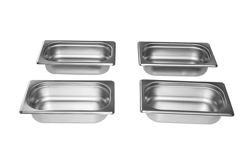 Gastro-Bedarf-Gutheil 4 x Gastronormbehälter GN Behälter 1/4 65 mm Tief stapelbar Edelstahl Incl. Steg Geeignet für Chafing Dish, Bain Marie, Saladette