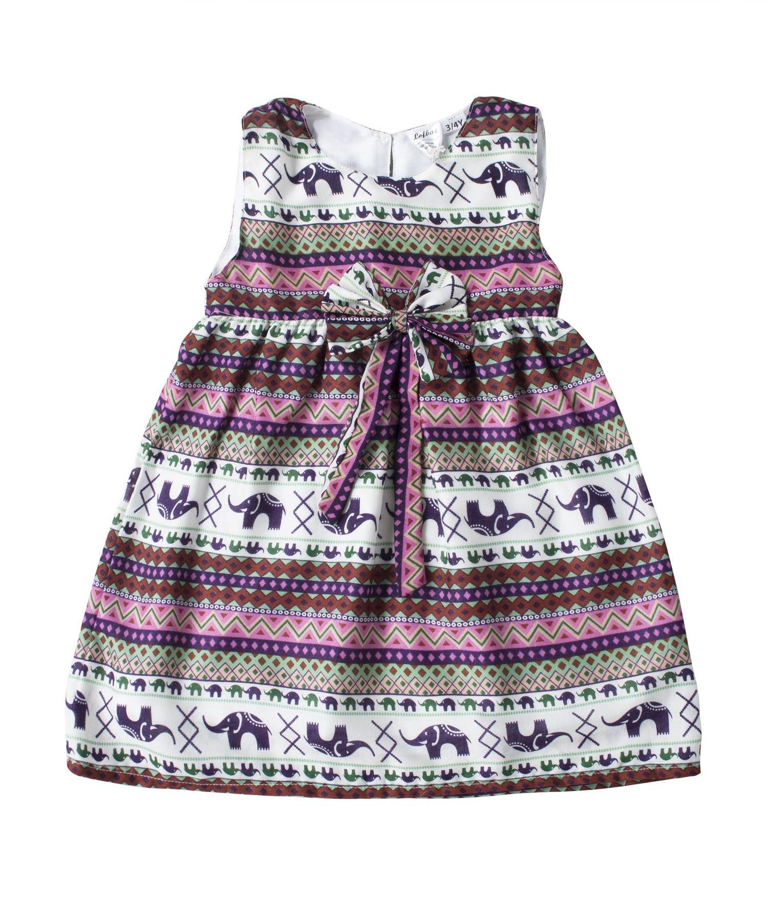 Lofbaz Girls Printed Rayon Sleeveless Tea Dresses - Elephant 16 Pink - 4-5Y