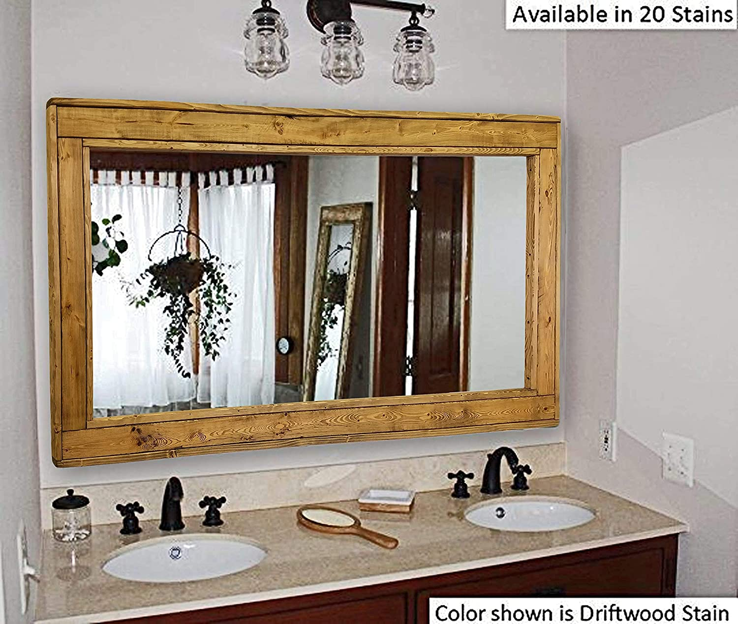 Amazon Com Herringbone Large Mirror Double Vanity Mirror Available In 20 Colors Shown In Driftwood Reclaimed Wooden Framed Mirror Ex Large Wall Mirror Rustic Modern Home 24x30 36x30 42x30 60x30 Handmade