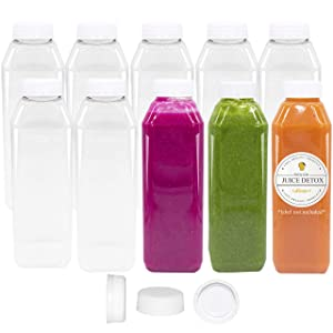 12 oz Empty Juice Bottles Reusable Clear Plastic Disposable Milk Containers with White Tamper Proof Caps Set of 10
