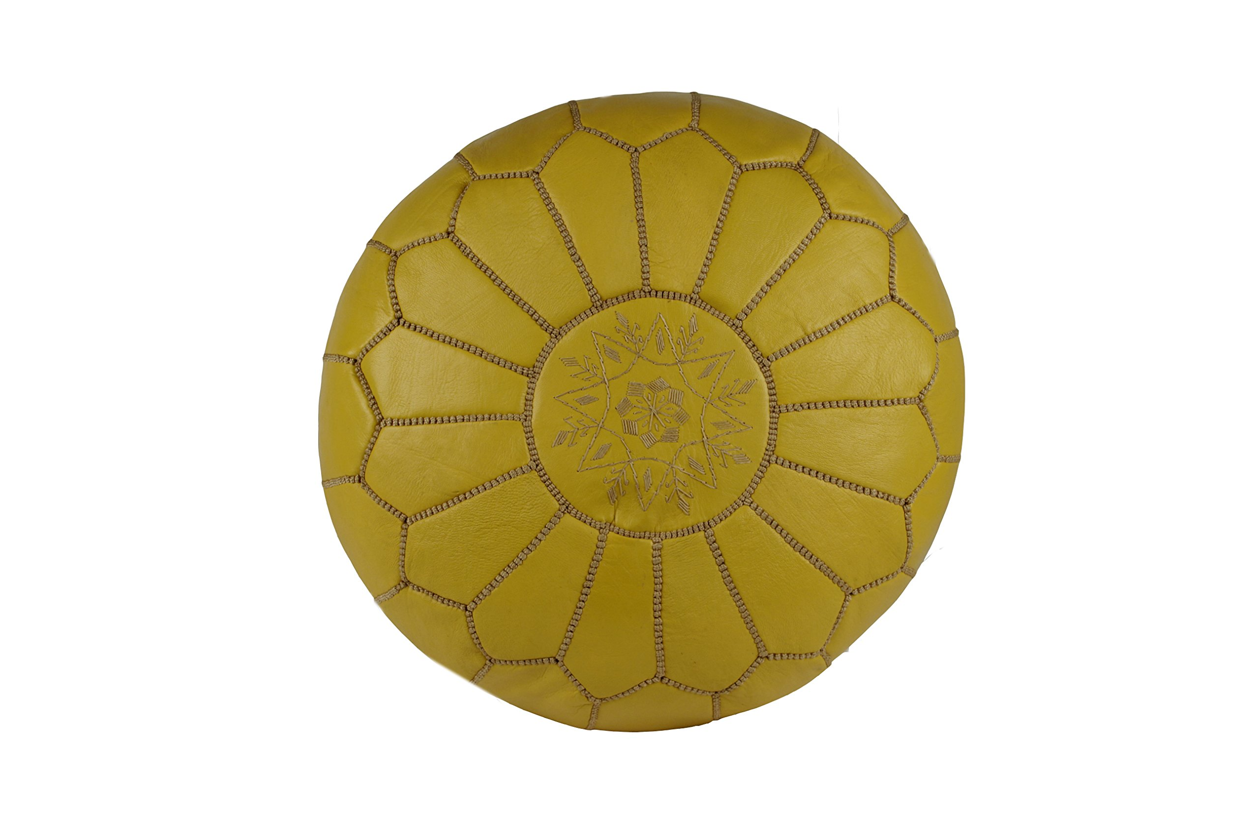 Casablanca Market Moroccan Embroidered Cotton Stuffed Leather Pouf/Ottoman, Yellow