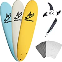 A ALPENFLOW 8' Foam Surfboard 8ft Soft Top Surf Board High Performance Foamie Softboard Funboard with Leash Fins and Traction Pad