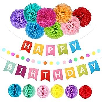 Amazon.com: Pancarta de decoración de cumpleaños con ...