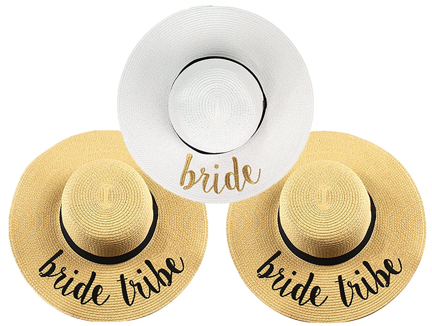 1 Bride (White gold) & 2 Bride Tribe (Natural) Bundle Funky Junque Women's Bold Cursive Embroidered Adjustable Beach Floppy Sun Hat