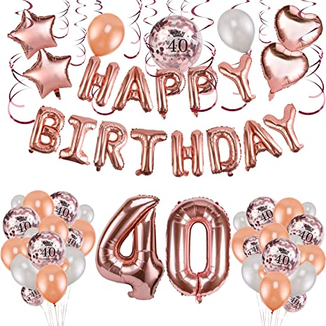 Konsait 59pack Rose Gold 40th Birthday Decorations for Women Girls 40 Birthday Party Supplies| Happy Birthday Balloon Banner Rose Gold Hanging Swirls ...